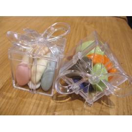 Boite cadeau transparente avec noeud par 5
