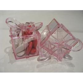 Boite cadeau transparente rose avec noeud par 5