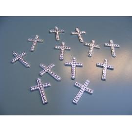 12 croix à coller couleur argent