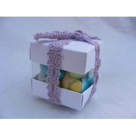 Mini cube duo blanc nacré par 10