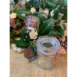 6 pots en verre avec une fermeture métal rose gold
